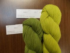 """Two shades of Shibui Cima, a """"Kinetic"""" cowl colorway: Lime and Apple."""