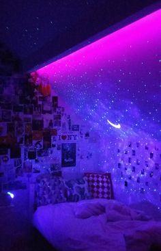 aesthetic tik tok room led lights collage wall vsco room skylite projector bedroom inspo room ideas with led lights aesthetic tik tok room Neon Bedroom, Cute Bedroom Decor, Room Ideas Bedroom, Bedroom Inspo, Neon Room Decor, Dream Bedroom, Galaxy Bedroom Ideas, Hippie Bedroom Decor, Bedroom Small