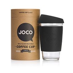 JOCO 16oz Glass Reusable Coffee Cup Black -- You can find more details by visiting the image link.  This link participates in Amazon Service LLC Associates Program, a program designed to let participant earn advertising fees by advertising and linking to Amazon.com.