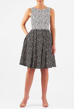 I <3 this Colorblock polka dot print crepe dress from eShakti