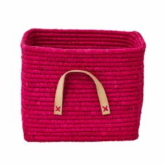 Rice Denmark Raffia Storage Basket, Fuschia, Leather Handles : Gifts and Accessories from Scandinavia Toy Storage Boxes, Kids Storage, Storage Baskets, Storage Shelving, Childrens Wardrobes, Cute Cushions, Square Baskets, Plastic Organizer, Frappe