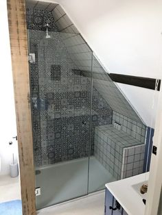 A completed shower screen to a suit an awkward loft space in a Barn conversion. Fixed panel and door are expertly measured and installed for a perfect fit. Attic Shower, Small Attic Bathroom, Small Shower Room, Loft Bathroom, Upstairs Bathrooms, Bathroom Layout, Bathroom Interior Design, Sloped Ceiling Bathroom, Loft Room
