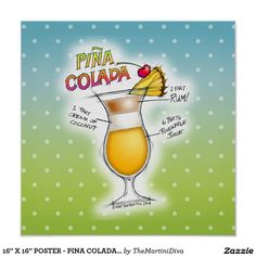 The Pina Colada, Puerto Rico's official national cocktail since is a creamy, fruity Tiki style drink made with fr. Pina Colada Rum, Frozen Pina Colada, Mai Tai Cocktail Recipes, Colorful Drawings, Recipe Cards, Mixed Drinks, Custom Posters, Postcard Size, Custom Framing