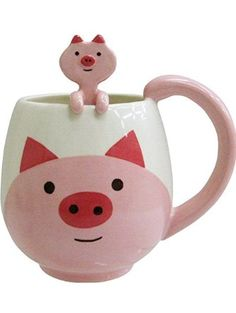 Decole Pig Manmaru Mug + Spoon ❤ Decole