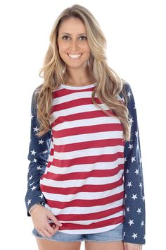 9ad8e87a2a7 Be on team USA with this American Flag Raglan. American Flag Dress