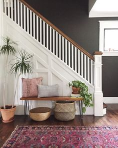 Small Foyer Decorating Ideas Entryway Staircase 35 Entryway & Small Foyer D. Small Foyer Decorating Ideas Entryway Staircase 35 Entryway & Small Foyer D… Small Foyer De Entryway Stairs, Entryway Ideas, Entry Foyer, Small Staircase, Small Entryway Decor, Apartment Entryway, Basement Stairs, Modern Staircase, Bedroom Decor