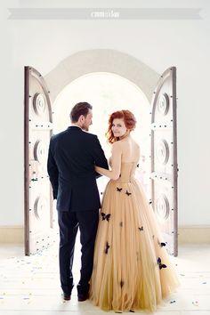 beautiful butterfly wedding dress