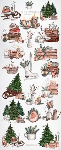 Watercolor cozy winter clipart. Christmas and New Year DIY decor clipart. Holiday Xmas clipart. Christmas tree, forest animals greeting card