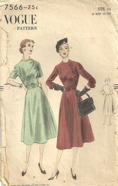 This is a vintage sewing pattern from vogue, designed in 1951.  It makes a day dress with a diagonal scalloped front closure.  Size 14: Bust 32