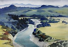 New Zealand Art, New Zealand Landscape, Landscape Paintings, Art For Art Sake, Maori Art, International Art, Watercolor Landscape, Landscape Prints, Nz Art