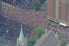 Sea of people on Parade route Cleveland Team, Parade Route, City Photo, Louvre, Memories, Sea, History, Building, People
