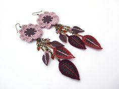 Genuine leather flower dangle earringsrecycled by GiadaCortellini