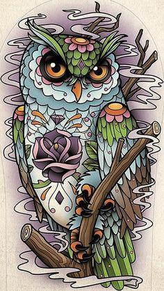 dibujo buho tattoo ~ dibujo buho ` dibujo buho a lapiz ` dibujo buho infantil ` dibujo buho facil ` dibujo buho tattoo ` dibujo buho realista ` dibujo buho minimalista Sugar Skull Owl, Sugar Skull Tattoos, Owl Tattoos, Skeleton Tattoos, Fake Tattoos, Pretty Tattoos, Buho Tattoo, I Tattoo, Tattoo Flash