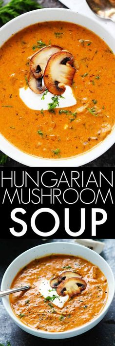 This Hungarian Mushroom Soup with Fresh Dill is creamy, with hints of smokiness and a great umami flavor. It's the perfect bowl of soup to warm up with this winter! | platingsandpairings.com Soup Recipes, Vegetarian Recipes, Cooking Recipes, Healthy Recipes, Recipes Dinner, Dinner Ideas, Free Recipes, Healthy Food, Vegan Recipes