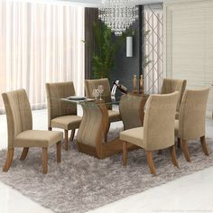 Conjunto para Sala de Jantar com Mesa Retangular com Tampo de Vidro e 6 Cadeiras Fortuna Sem Aparador Imbuia Mel/Pena Caramelo - LJ Móveis