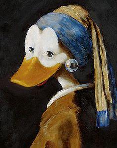Het meisje met de parel Vermeer duck