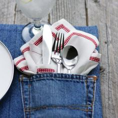 re-purposed denim place mat