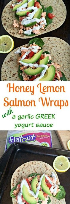 These Honey Lemon Salmon Wraps are packed full of healthy fats and flavored with delicious herbs providing an amazing combo of unique flavors! Wrap Recipes, Salmon Recipes, Fish Recipes, Lunch Recipes, Seafood Recipes, Cooking Recipes, Good Healthy Recipes, Vegetarian Recipes, Tortillas