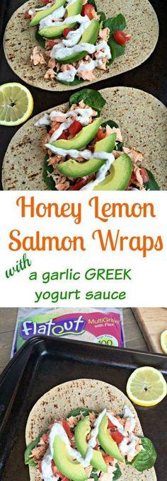 honey lemon salmon wraps