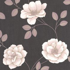Flavia Floral Wallpaper in Stone design by Graham & Brown   BURKE DECOR