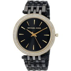 Michael Kors Women's Darci Diamond Black And Gold Stainless Steel... (915 RON) ❤ liked on Polyvore featuring jewelry, watches, black, black diamond bracelet, diamond watches, black watches, black and gold watches and water resistant watches
