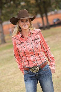 Cruel Girl® Ladies L/S Coral Stripe Snap Shirt