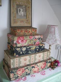 French fabric-covered boxes