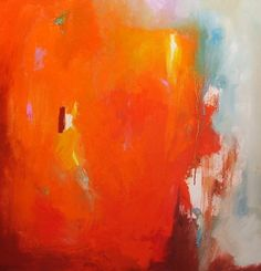 Abstract Painting, original fine art, orange, 23 inches square. $250.00, via Etsy.