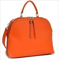 Medium Faux Calfskin Tote Bag in Orange Marmalade