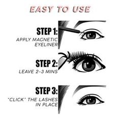 The Magnetic Eyeliner & Eyelash Kit is a eyeliner and false eyelash system that lets you have beautiful eyelashes quickly, easily and painlessly. Just apply the liner, let dry, and the lashes softly 'click' onto the magnetic eyeliner. Fake Lashes, False Eyelashes, Longer Eyelashes, Eyelash Kit, Lash Up, Beautiful Eyelashes, Magnetic Lashes, Waterproof Eyeliner, Black Eyeliner