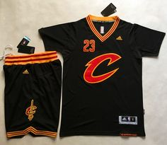 Cavaliers  23  LeBron  James Black Short Sleeve C A Set  StitchedNBAJersey  Retro 7b94178c2
