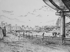 Artist - Itsuo Kiritani   Title - Ryogokubashi Bridge over Sumida River(両国橋、隅田川)   Dimensions - (21.5cm x 23.8cm)Year - 1997  Media - Pen and Ink on Paper   Exhibition - ANA InterContinental Tokyo  Nov. 9, 2015 - Feb. 9, 2016     Inquiry