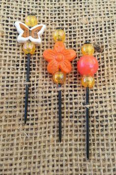 Orange Beaded Push Pin Set by GrlFridayProductions on Etsy, $5.00