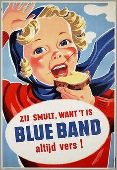 'Zij smult, want t'is Blue Band, Altijd Vers' 1947 #Reclame #advertising #Advertentie #Boter #Zuivel #Melk