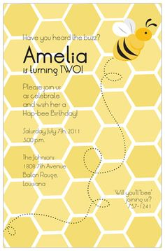 bee party invitations - Google Search