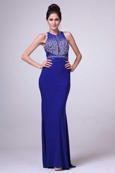 Prom Dress with Cutout Back CDJC3853 Full Length, Sheath Shape Prom or Evening Dress, High Neckline, Sleeveless, Beaded Top, Solid Color Skirt, Zipper Back Closure. https://www.smcfashion.com/wholesale-prom-dresses/prom-dress-cdjc3853