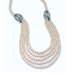 AN ART DECO NATURAL PEARL AND DIAMOND NECKLACE Comprising five graduated rows of 143, 137, 63, 57 and 53 natural pearls measuring from 9.8 to 3.5 mm gathered by two circular-cut diamond and rectangular-shaped emerald scrollwork clasps to the similar back clasp, circa 1930, longest row 74.0 cm long, shortest row 28.5 cm long, in fitted black velvet case.