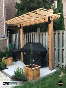 Pergola For Small Backyard Wood Pergola, Outdoor Pergola, Backyard Pergola, Backyard Landscaping, Pergola Kits, Outdoor Grill Area, Wood Arbor, Gazebo Ideas, Pergola Roof