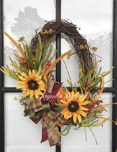 Fall / Autumn Oval Grapevine Wreath with Sunflowers, Fall Bow and Pumpkin by Jayne's Wreath Designs on fb and Instagram