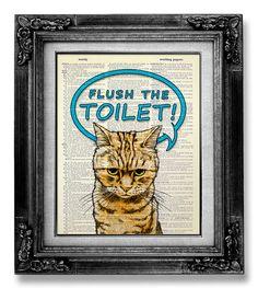 New Home Gift HOUSEWARMING Gift for Man, Kid Gift Idea Home Office Decor, DORM Wall Decor, Funny GIFT idea Bathroom Poster, Flush the Toilet on Etsy, $10.00