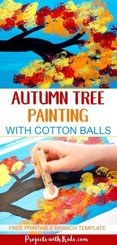 Malen mit Kindern im Herbst, Create this gorgeous autumn tree painting using cotton balls. Kids will love creating this fall craft with all of the beautiful colors of autumn! Includes a branch template to make it an easy autumn craft for kids of all ages. Easy Fall Crafts, Fall Crafts For Kids, Projects For Kids, Kids Crafts, Autumn Art Ideas For Kids, Craft Projects, Craft Ideas, Autumn Activities For Kids, Art Activities