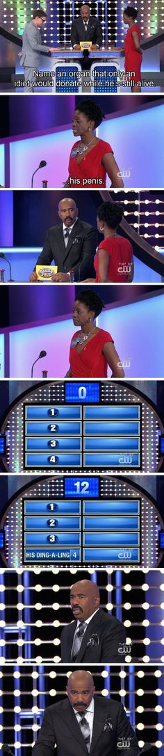 """16 Times Steve Harvey Couldn't Believe The Answers """"Family Feud"""" Contestants Gave. These are all really funny but my favorite will always be naked grandma Can't Stop Laughing, Laughing So Hard, Funny Cute, Really Funny, Freaking Hilarious, Super Funny, Family Feud Funny, Thats 70 Show, Steve Harvey"""