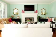 love this - turquoise and pink living room