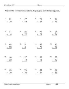 Worksheets for 2-Digit Subtraction With Regrouping: Worksheet # 7