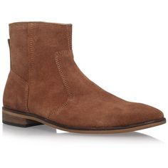 KG Halifax Zip Up Ankle Boots ($63) ❤ liked on Polyvore featuring men's fashion, men's shoes, men's boots, mens side zip dress boots, mens suede dress boots, mens zip up ankle boots, mens suede ankle boots and mens zip up boots