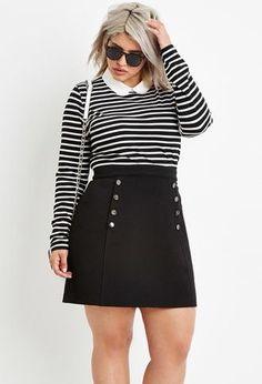 Plus Size Stripe Collared Top - DiMagio