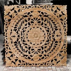 Wood Medallion Wall Decor thai wooden wall panel. wall hanging. floral wood carved wall