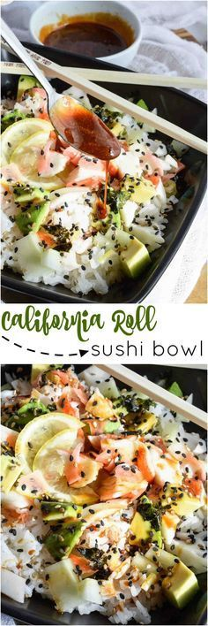 Spending way too much on sushi? Super easy, healthy homemade sushi to the rescue with this California Roll Sushi Bowl Recipe!