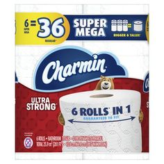 Charmin Ultra Strong Toilet Paper 6 Super Mega Rolls, 426 Sheets Per Roll, Pack contains 6 Rolls sheets per roll) of Charmin Ultra Strong Toilet Tide Liquid Detergent, Small Toilet, Helping Cleaning, 2 Ply, Washing Clothes, Toilet Paper, Rolls, Strong, Small Shower Room