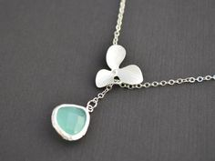 SALE  Sweet orchid and aqua blue lariat necklace  by LilliDolli (lisa)